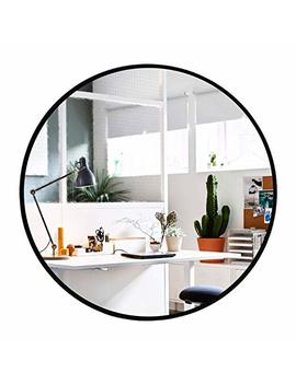 Elevens Wall Round Mirror   Popular 32 Inch Round Wall Mounted Decorative Mirror   Metal Frame, Best For Vanity Washrooms Bathroom And Living Rooms  Black by Elevens