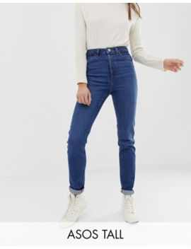 Asos Design Tall – Recycled Farleigh – Mörktvättade Slim Mom Jeans Med Hög Midja by Asos Design