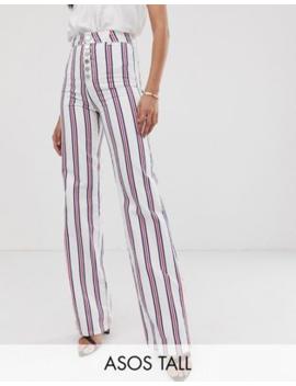 Asos Design Tall – Randiga Flare Jeans Med Synligt Blixtlås by Asos Design