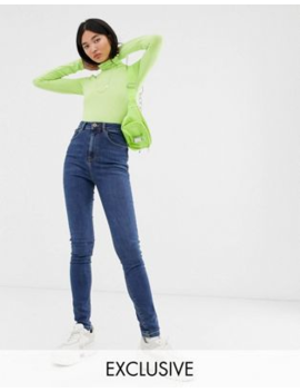 Collusion – X001 – Mellanblå, Tvättade Skinny Jeans by Collusion