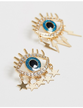 Asos Design Earrings With Eye Detail &Amp; Hanging Charms In Gold Tone by Asos Design