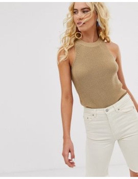 &Amp; Other Stories Cotton Blend Knitted Top In Beige by & Other Stories