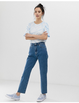 Pull&Amp;Bear Rigid Mom Jeans In Dark Blue by Pull&Bear