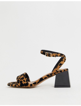 Asos Design Honeywell Block Heeled Sandals In Leopard by Asos Design