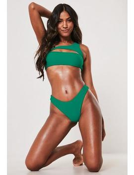 premium-green-one-shoulder-cut-out-bikini-top by missguided