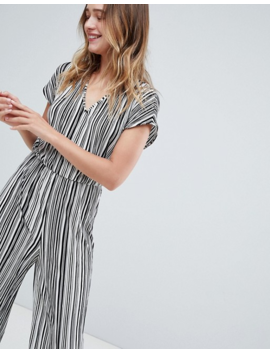 Monki Stripe Plisse Jumpsuit In Black And White by Monki