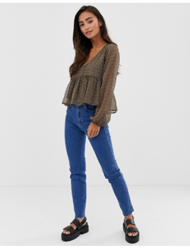 Pull&Amp;Bear Slim Mom Stretch Jeans In Dark Blue by Pull&Bear