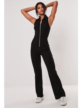 Black Rib Collared Flare Leg Jumpsuit by Missguided