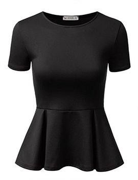 Doublju Stretchy Flare Peplum Blouse Tops For Women With Plus Size by Doublju