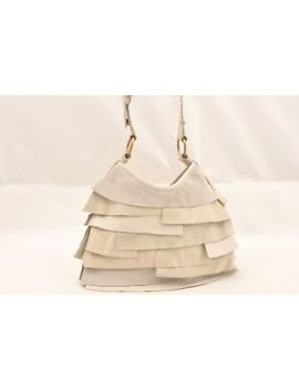 Authentic Yves Saint Laurent Tropez Shoulder Hand Bag Leather White Ivory 62922 by Yves Saint Laurent