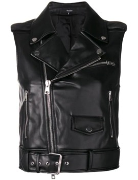 Faux Leather Biker Gilet by Theory