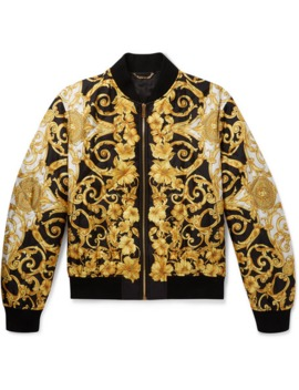 Printed Quilted Silk Bomber Jacket by Versace