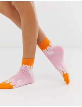 Asos Design Pastel Flame Ankle Socks by Asos Design