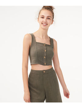 Buttoned Linen Blend Crop Top by Aeropostale
