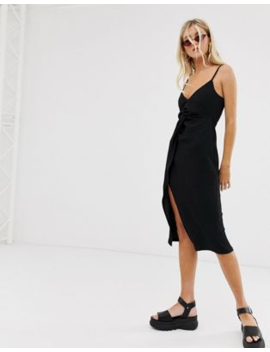 Bershka Cami Dress With Knot Front In Black by Bershka