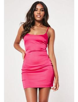 petite-hot-pink-satin-slip-dress by missguided