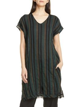 Stripe Raw Hem Organic Cotton Tunic by Eileen Fisher