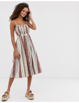 Asos Design Cami Button Through Midi Linen Sundress In Stripe by Asos Design