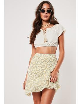 Yellow Ditsy Floral Print Wrap Frill Mini Skirt by Missguided