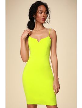 Gianna Lime Green Sleeveless Bodycon Dress by Lulus