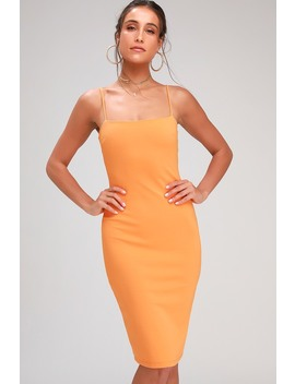 Attitude Orange Bodycon Midi Dress by Lulus