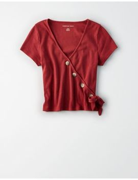 Ae Wrap Button Front T Shirt by American Eagle Outfitters