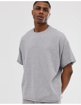 Camiseta Extragrande Y Gruesa Con Cuello Redondo Y Bordes Sin Rematar En Gris Marga De Asos Design by Asos Design