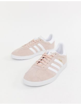 Adidas Originals Pink And White Gazelle Sneakers by Adidas