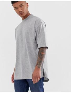 Camiseta Extragrande Con Abertura Lateral En Gris Marga De Asos Design by Asos Design