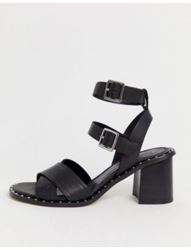 Asos Design Hearty Leather Studded Sandals In Black by Asos Design