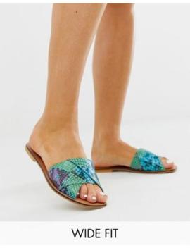 Asos Design Wide Fit Favoured Leather Sandals In Snake by Asos Design