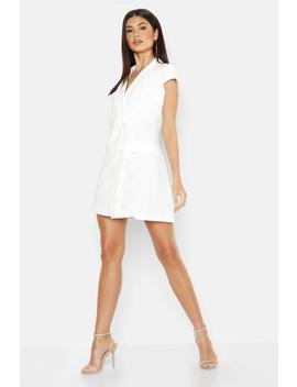 Woven Short Sleeve Double Breasted Blazer Dress by Boohoo