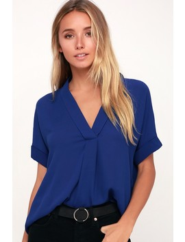 Rise To The Top Cobalt Blue Short Sleeve Top by Lulus