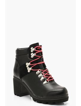 Chunky Block Heel Belt Strap Hiker Boots by Boohoo