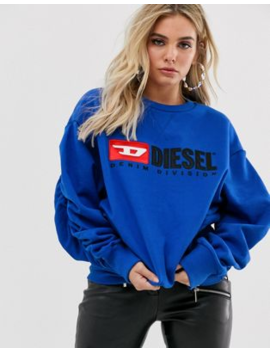 Diesel Logo Sweater With Ruched Sleeves by Diesel