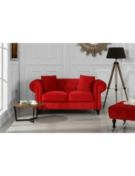 victorian-loveseat-sofa-in-vintage-tufted-red-velvet-chesterfield-couch-settee by unbranded