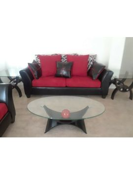 Red And Black Sofa And Love Seat In Great Condition With Glass Table Set by Handy Living
