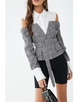 Plaid Twofer Shirt by Forever 21