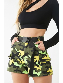 Belted Camo Print Cargo Shorts by Forever 21