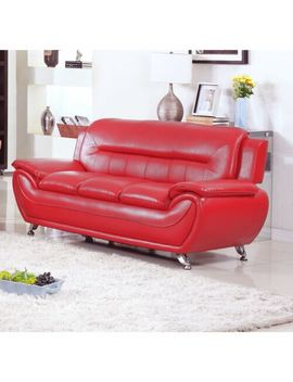 Alice Faux Leather Modern Sofa Red by Us Furnishing Express