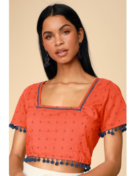 Sunset Island Red Orange Embroidered Pompom Crop Top by Lulus