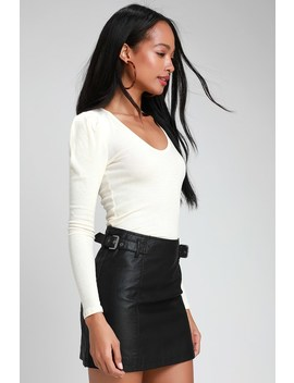Charli Black Vegan Leather Mini Skirt by Free People