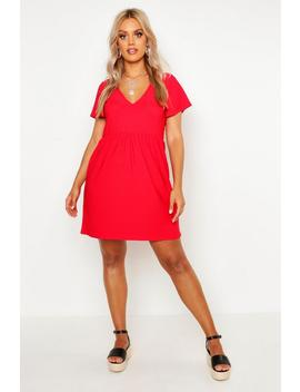 Plus Plunge Front Cap Sleeve Sundress by Boohoo