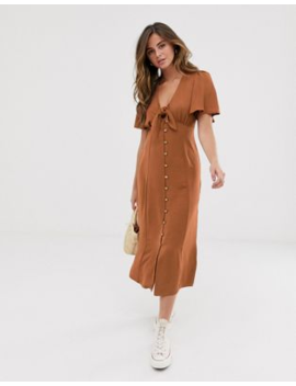 New Look Tie Front Button Down Dress In Rust by New Look