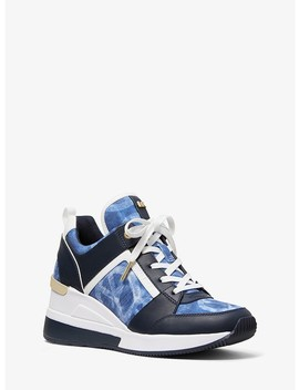 Georgie Tie Dye Canvas And Leather Trainer by Michael Michael Kors
