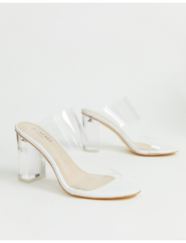 Simmi London Kimana White Croc Clear Detail Heeled Sandals by Simmi