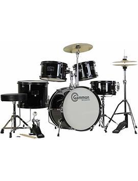 Gammon 5 Piece Junior Starter Drum Kit With Cymbals, Hardware, Sticks, &Amp; Throne   Black by Gammon Percussion