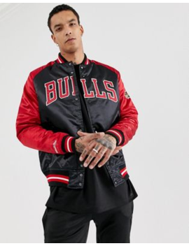 Mitchell &Amp; Ness Chicago Bulls Satin Jacket In Black &Amp; Red by Mitchell & Ness