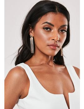 gold-look-diamante-drop-hammered-earrings by missguided