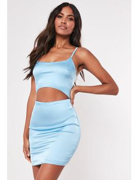 Blue Cut Out Stretch Satin Bodycon Mini Dress by Missguided
